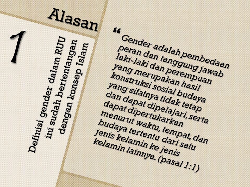 Definisi gender dalam RUU ini sudah bertentangan dengan konsep Islam