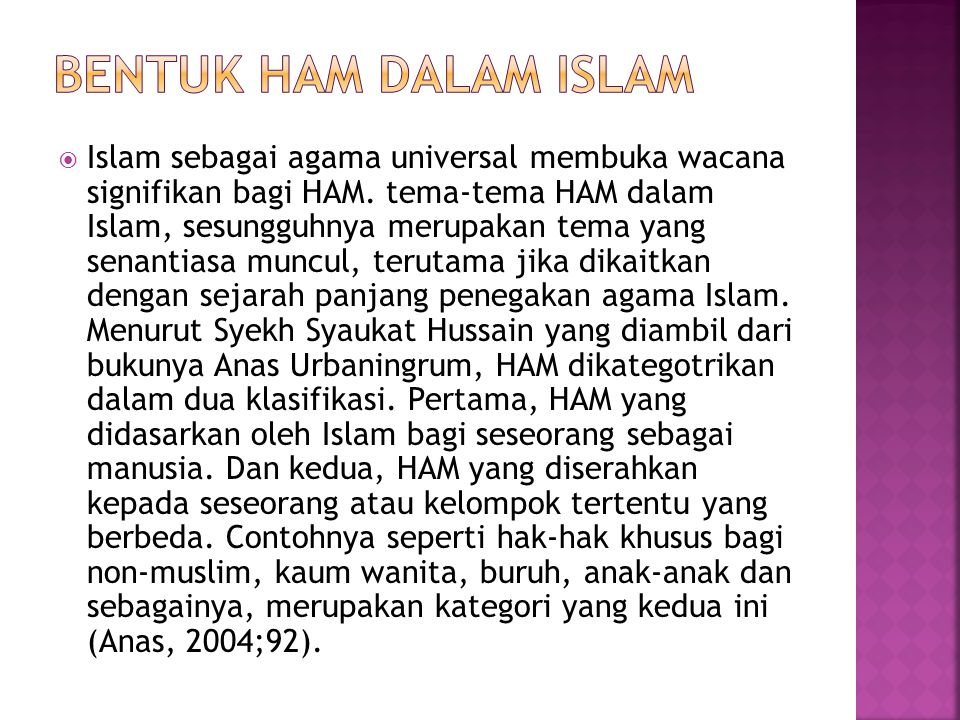 Bentuk ham dalam Islam