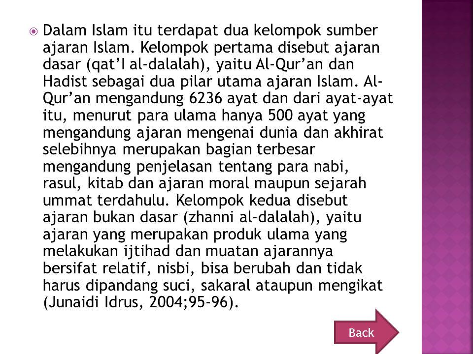 Dalam Islam itu terdapat dua kelompok sumber ajaran Islam