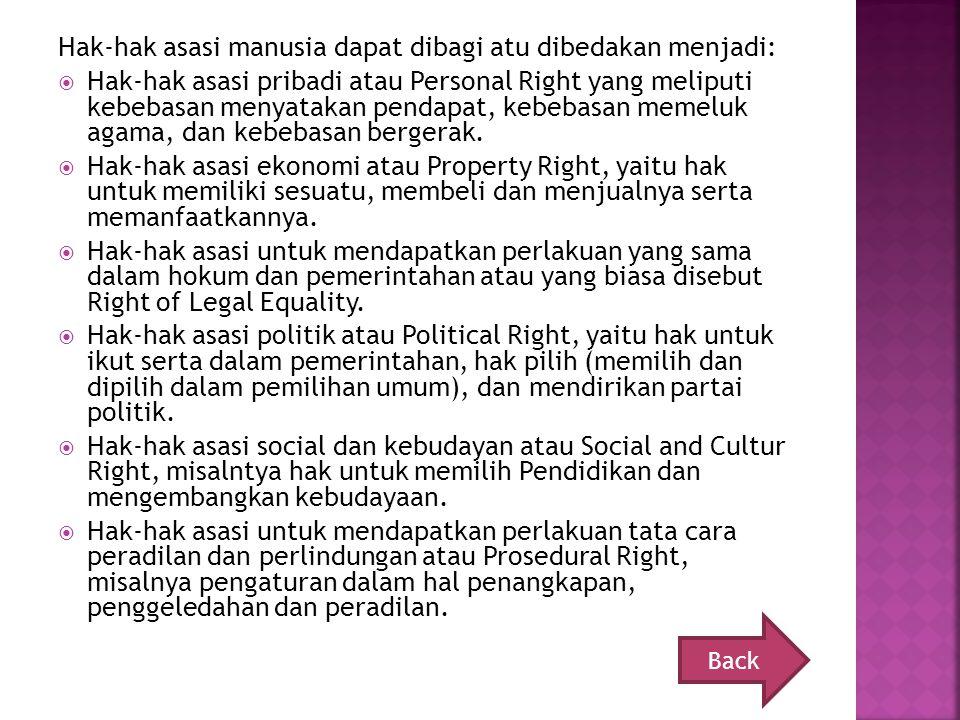Hak-hak asasi manusia dapat dibagi atu dibedakan menjadi: