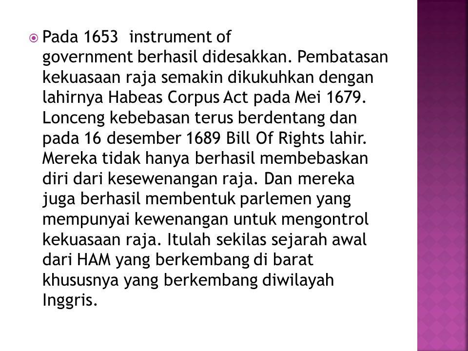 Pada 1653 instrument of government berhasil didesakkan