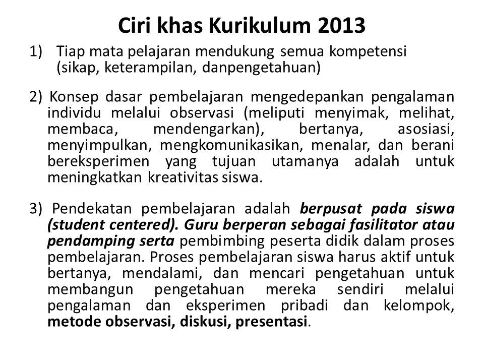 Ciri khas Kurikulum 2013 Tiap mata pelajaran mendukung semua kompetensi (sikap, keterampilan, danpengetahuan)