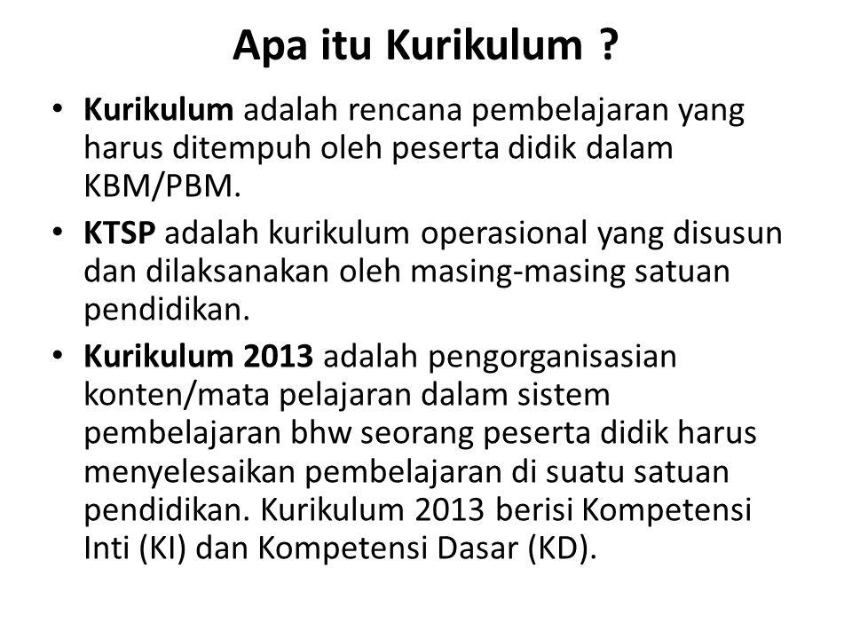 Apa itu Kurikulum Kurikulum adalah rencana pembelajaran yang harus ditempuh oleh peserta didik dalam KBM/PBM.