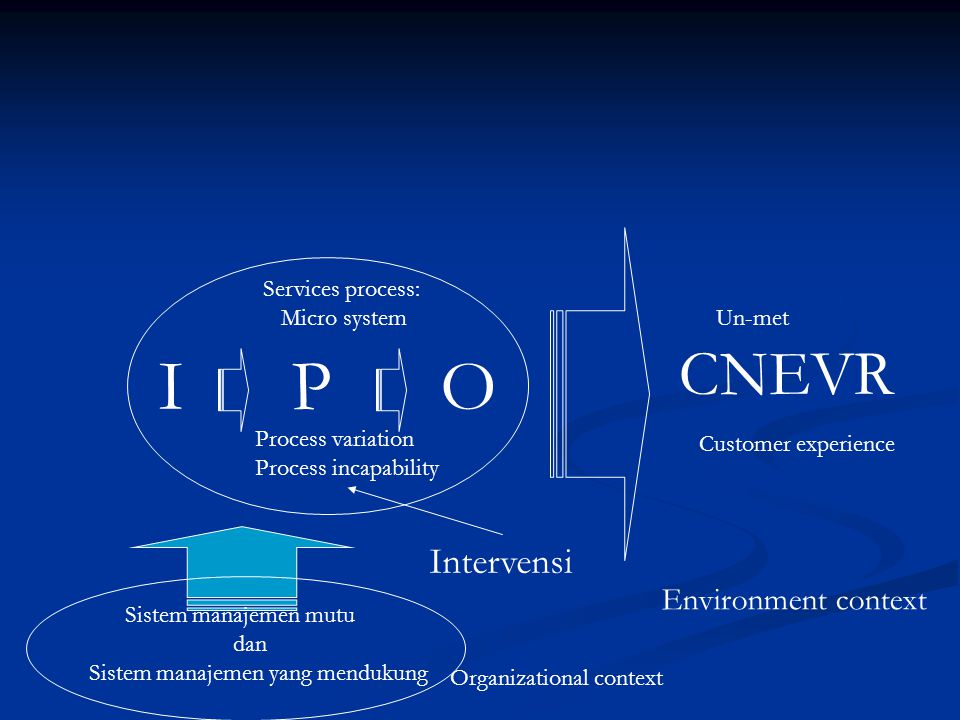 I P O CNEVR Intervensi Environment context Services process: