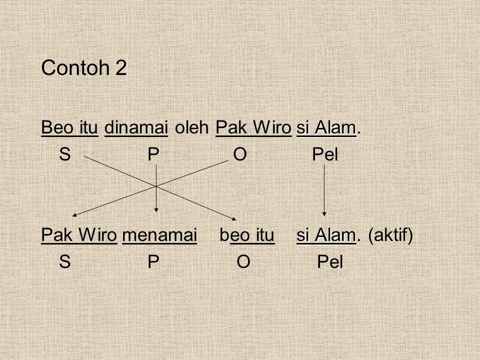 Contoh 2 Beo itu dinamai oleh Pak Wiro si Alam. S P O Pel