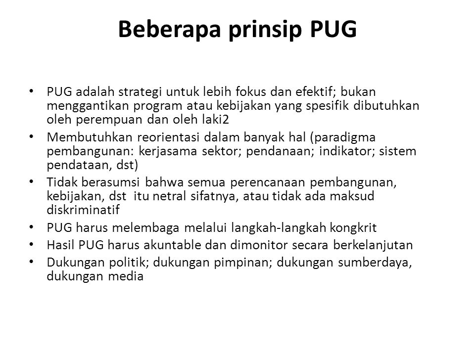 Beberapa prinsip PUG