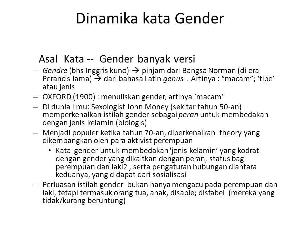 Dinamika kata Gender Asal Kata -- Gender banyak versi