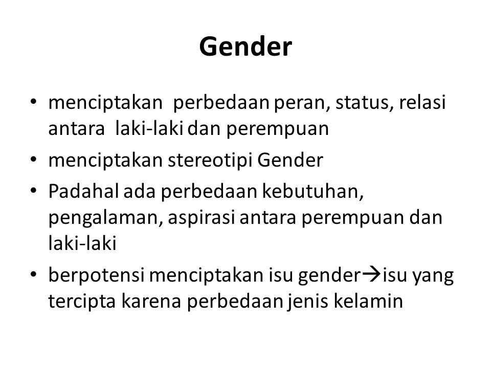 Gender menciptakan perbedaan peran, status, relasi antara laki-laki dan perempuan. menciptakan stereotipi Gender.
