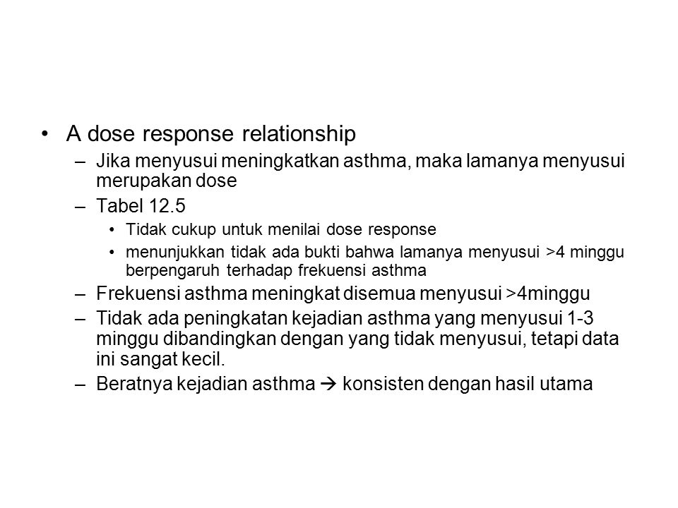 A dose response relationship