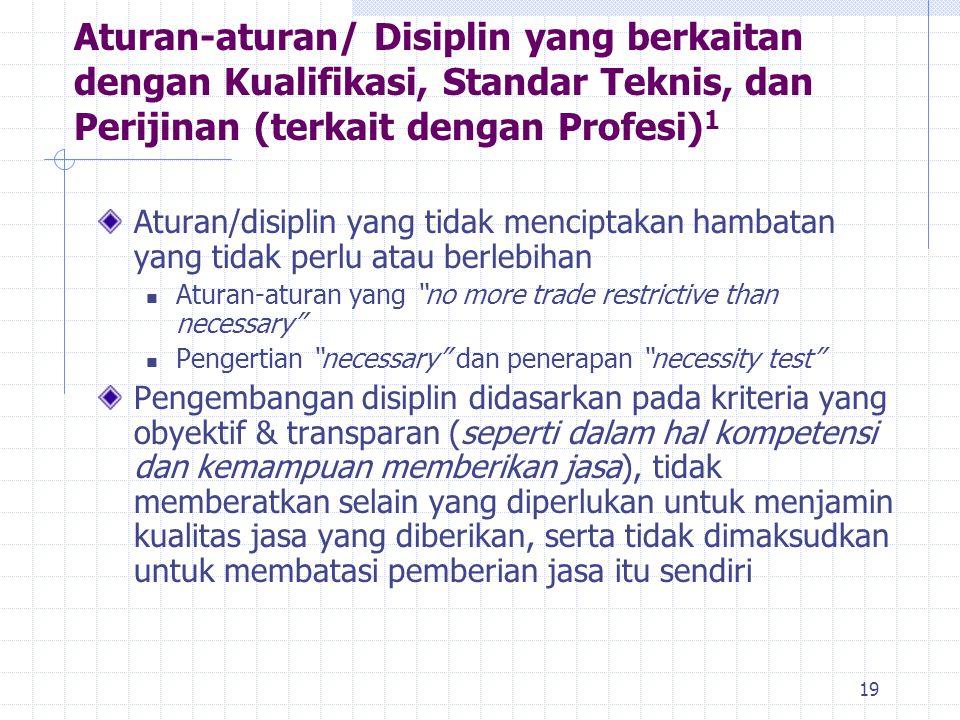 Aturan-aturan/ Disiplin yang berkaitan dengan Kualifikasi, Standar Teknis, dan Perijinan (terkait dengan Profesi)1