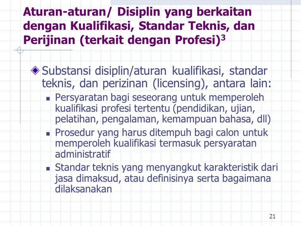 Aturan-aturan/ Disiplin yang berkaitan dengan Kualifikasi, Standar Teknis, dan Perijinan (terkait dengan Profesi)3