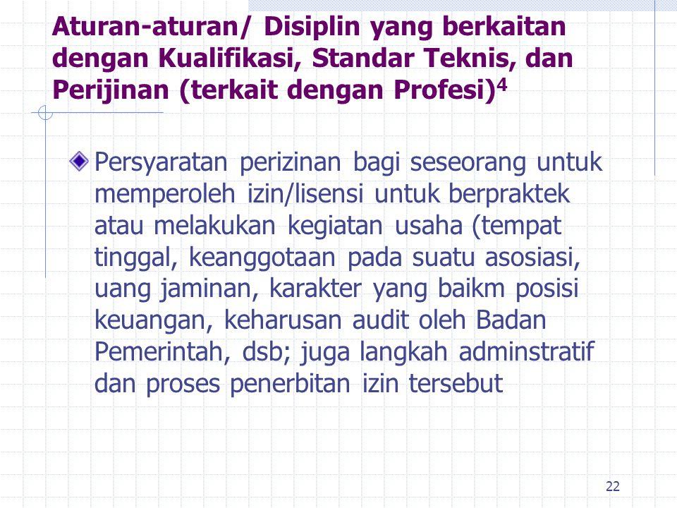 Aturan-aturan/ Disiplin yang berkaitan dengan Kualifikasi, Standar Teknis, dan Perijinan (terkait dengan Profesi)4