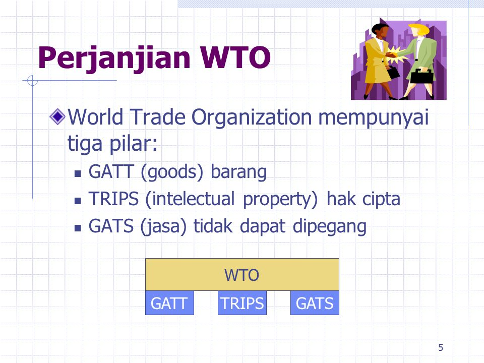 Perjanjian WTO World Trade Organization mempunyai tiga pilar: