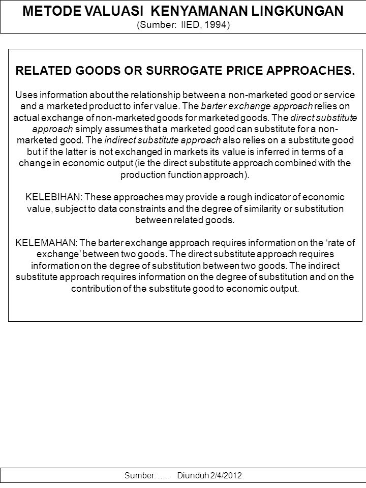 RELATED GOODS OR SURROGATE PRICE APPROACHES.