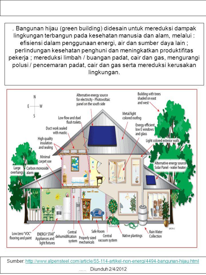 . Bangunan hijau (green building) didesain untuk mereduksi dampak lingkungan terbangun pada kesehatan manusia dan alam, melalui : efisiensi dalam penggunaan energi, air dan sumber daya lain ; perlindungan kesehatan penghuni dan meningkatkan produktifitas pekerja ; mereduksi limbah / buangan padat, cair dan gas, mengurangi polusi / pencemaran padat, cair dan gas serta mereduksi kerusakan lingkungan.