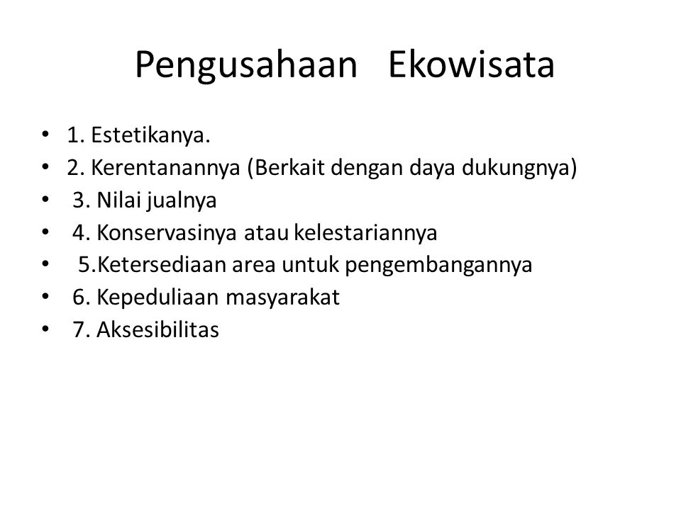 Pengusahaan Ekowisata