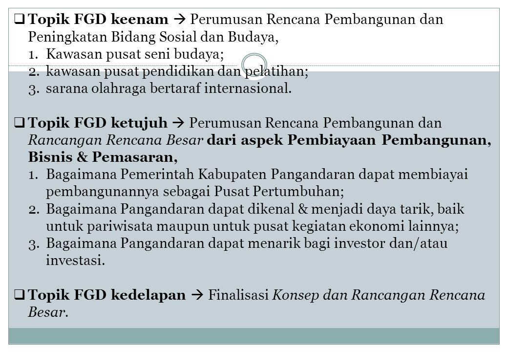 Topik FGD keenam  Perumusan Rencana Pembangunan dan Peningkatan Bidang Sosial dan Budaya,