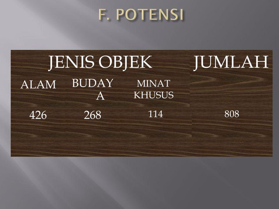 JENIS OBJEK JUMLAH F. POTENSI ALAM BUDAY A 426 268 MINAT KHUSUS 114