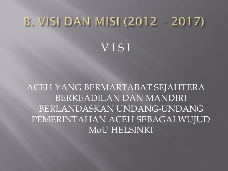 B. VISI DAN MISI (2012 – 2017) V I S I.