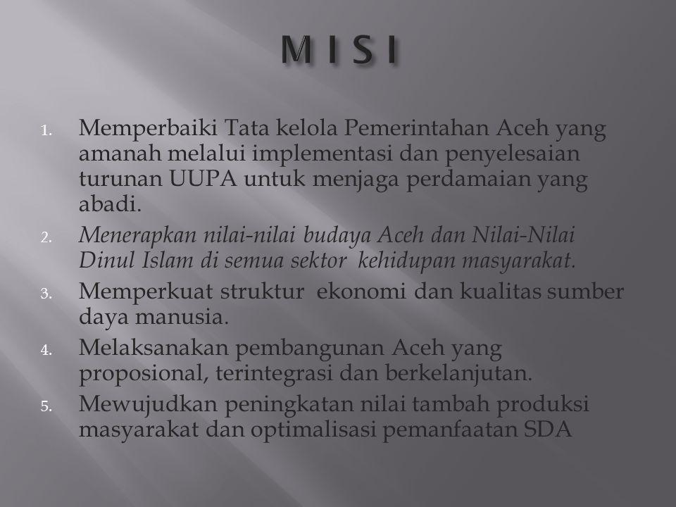 M I S I Memperbaiki Tata kelola Pemerintahan Aceh yang amanah melalui implementasi dan penyelesaian turunan UUPA untuk menjaga perdamaian yang abadi.