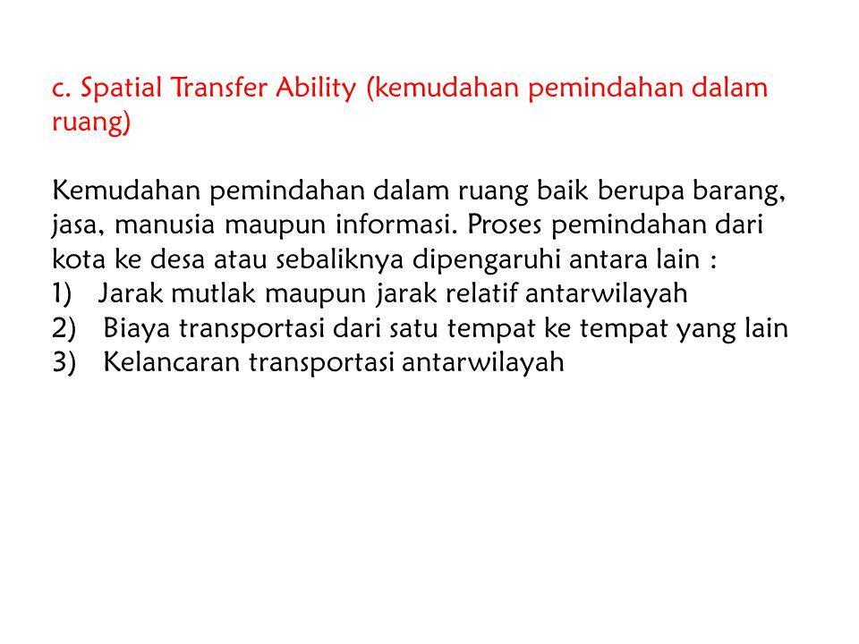 c. Spatial Transfer Ability (kemudahan pemindahan dalam ruang)