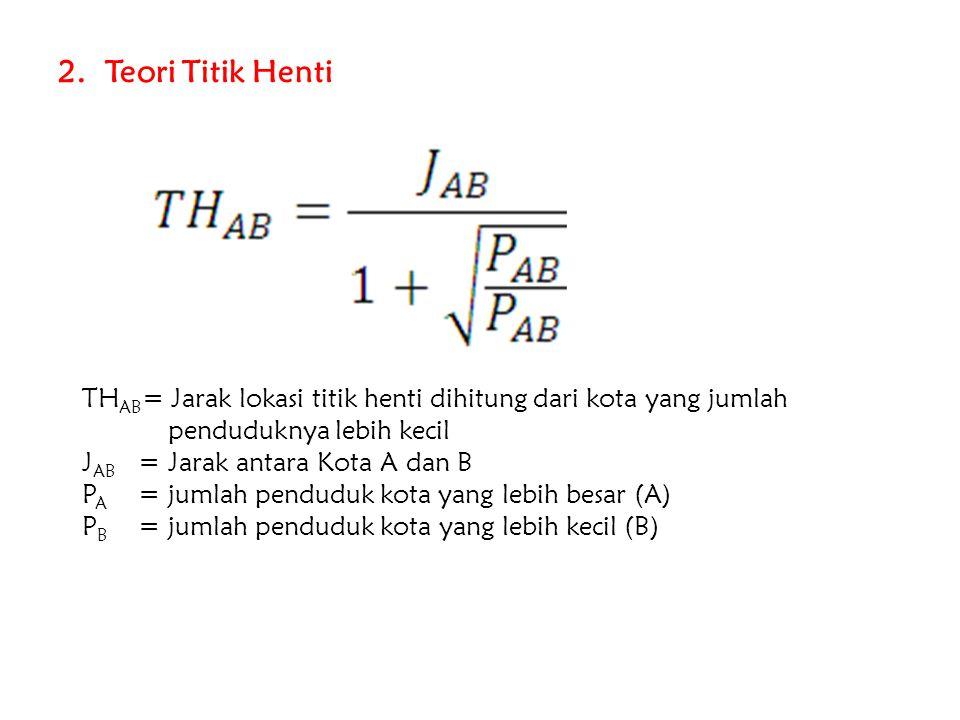 2. Teori Titik Henti THAB= Jarak lokasi titik henti dihitung dari kota yang jumlah. penduduknya lebih kecil.