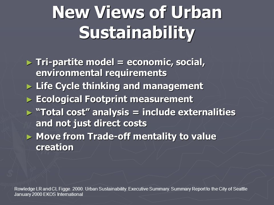 New Views of Urban Sustainability
