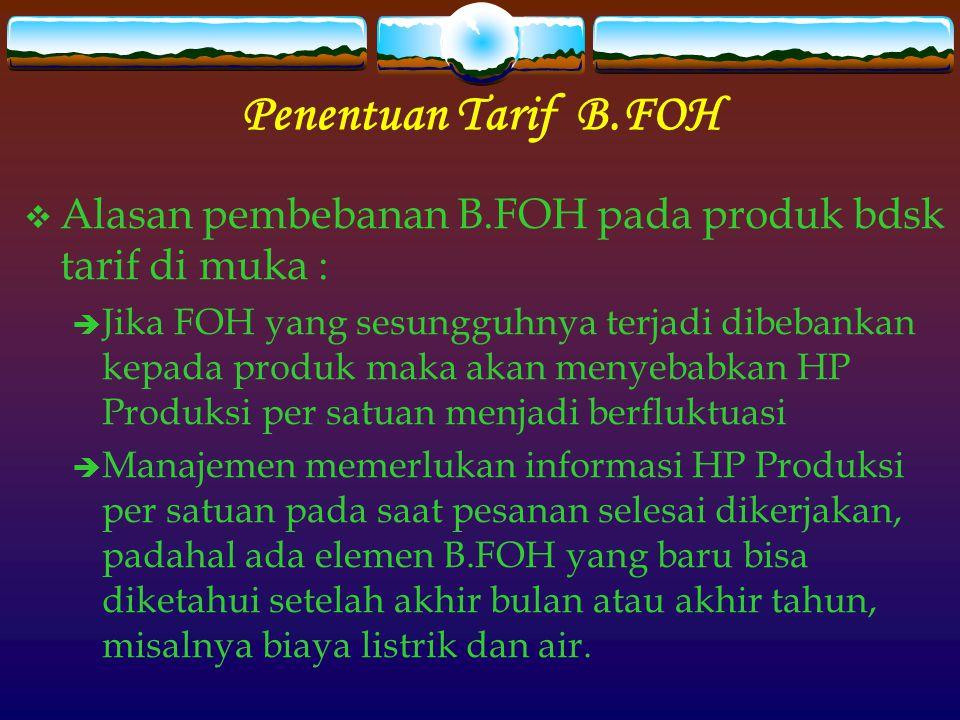 Penentuan Tarif B.FOH Alasan pembebanan B.FOH pada produk bdsk tarif di muka :