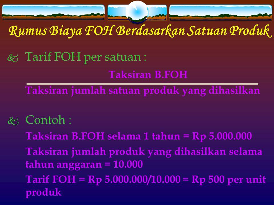 Rumus Biaya FOH Berdasarkan Satuan Produk
