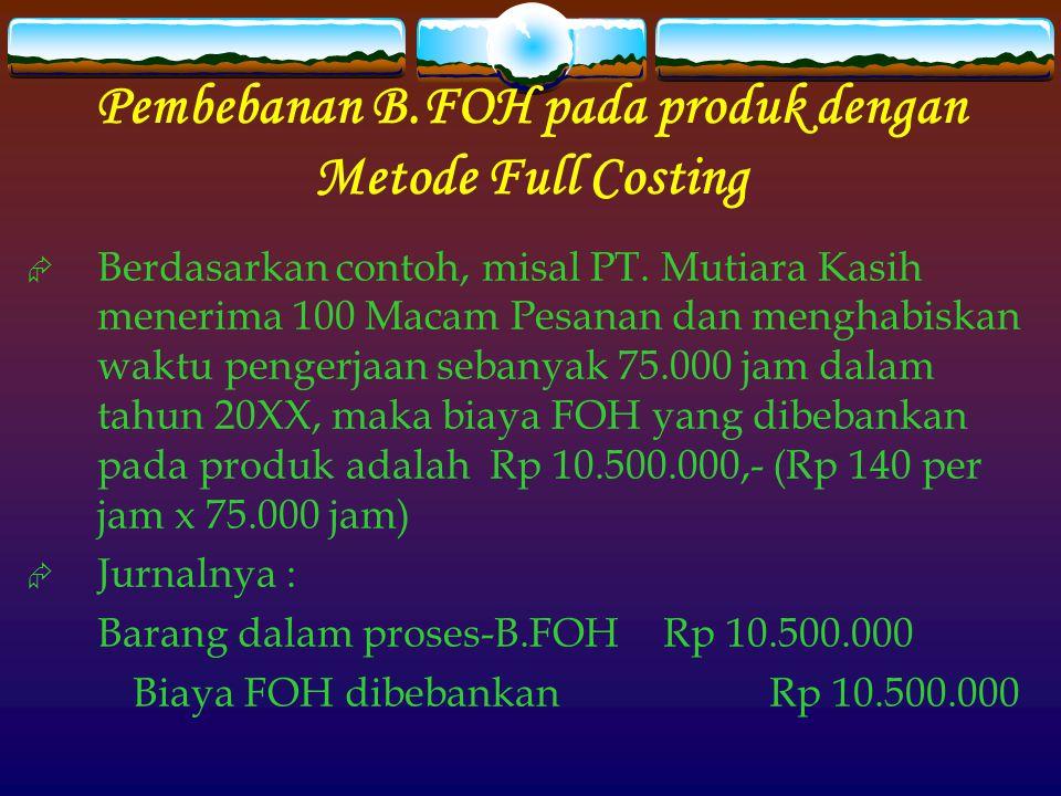 Pembebanan B.FOH pada produk dengan Metode Full Costing