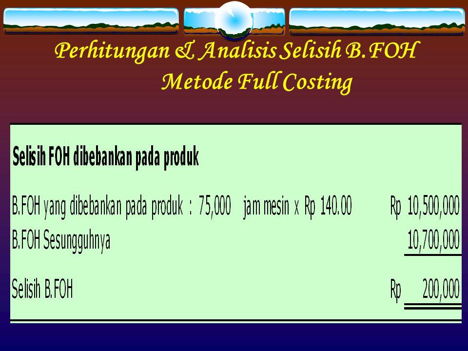 Perhitungan & Analisis Selisih B.FOH Metode Full Costing