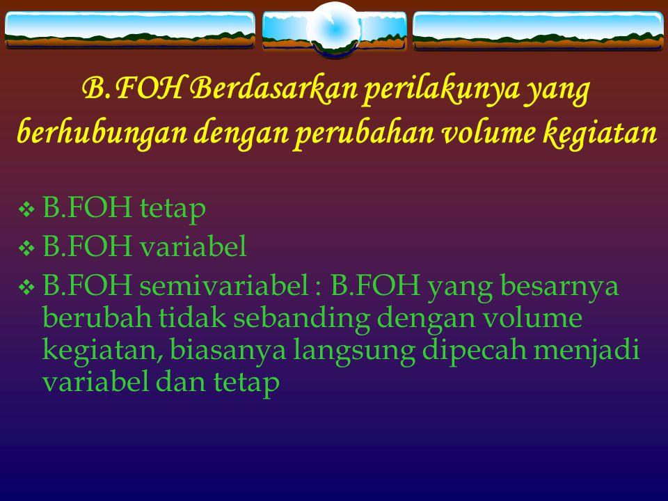 B.FOH Berdasarkan perilakunya yang berhubungan dengan perubahan volume kegiatan
