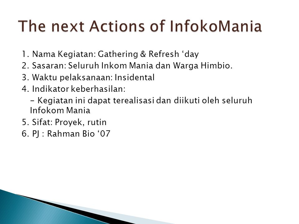 The next Actions of InfokoMania