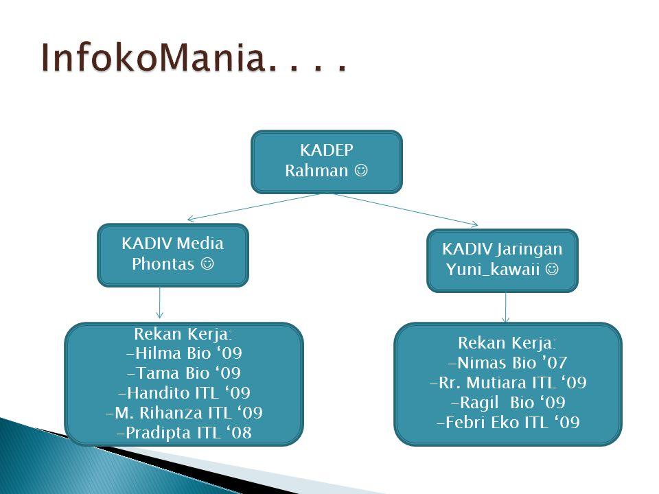 InfokoMania. . . . KADEP Rahman  KADIV Media KADIV Jaringan Phontas 