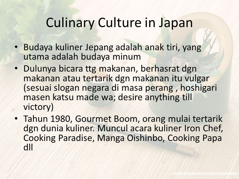 Culinary Culture in Japan