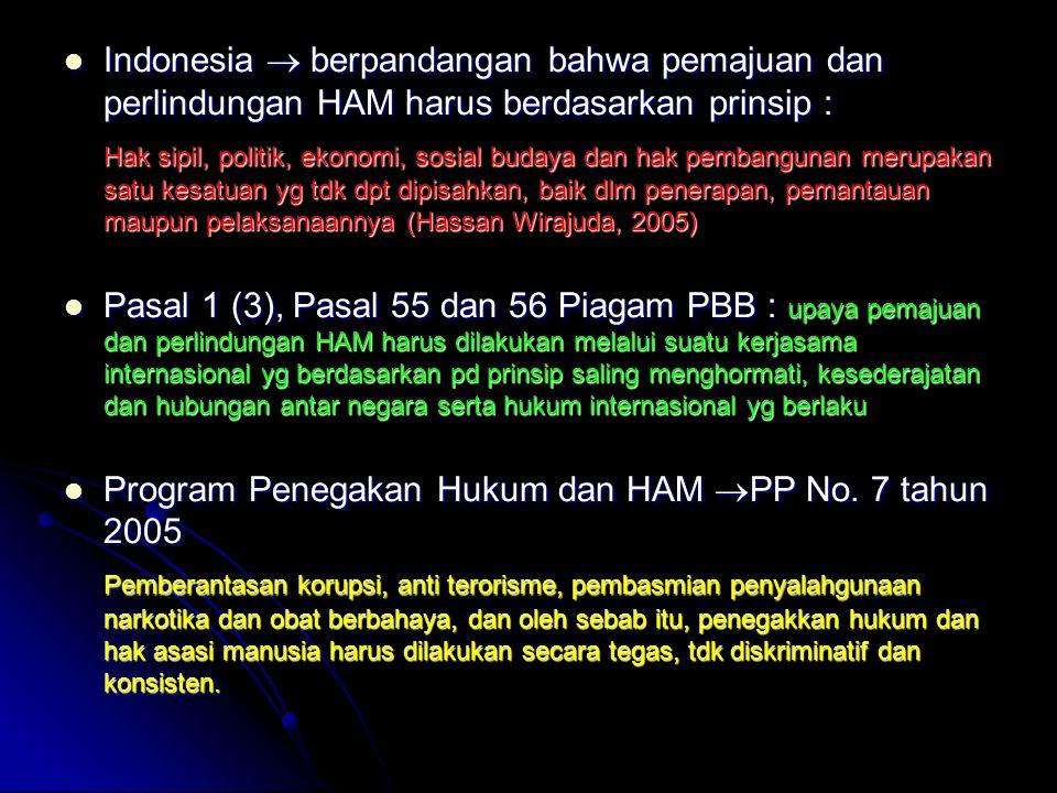 Indonesia  berpandangan bahwa pemajuan dan perlindungan HAM harus berdasarkan prinsip :