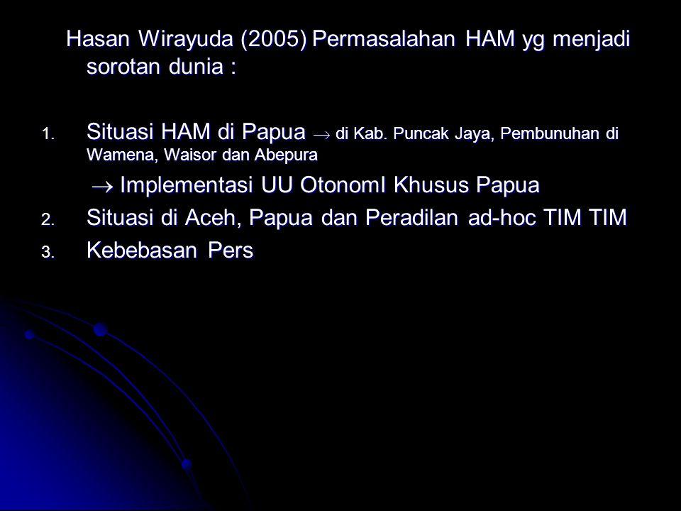 Hasan Wirayuda (2005) Permasalahan HAM yg menjadi sorotan dunia :