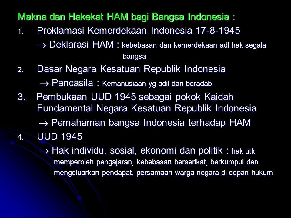 Makna dan Hakekat HAM bagi Bangsa Indonesia :
