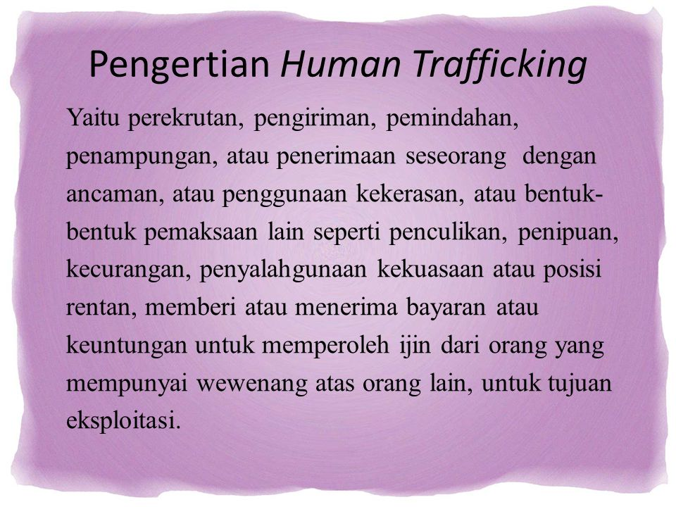 Pengertian Human Trafficking