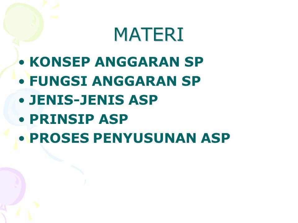MATERI KONSEP ANGGARAN SP FUNGSI ANGGARAN SP JENIS-JENIS ASP