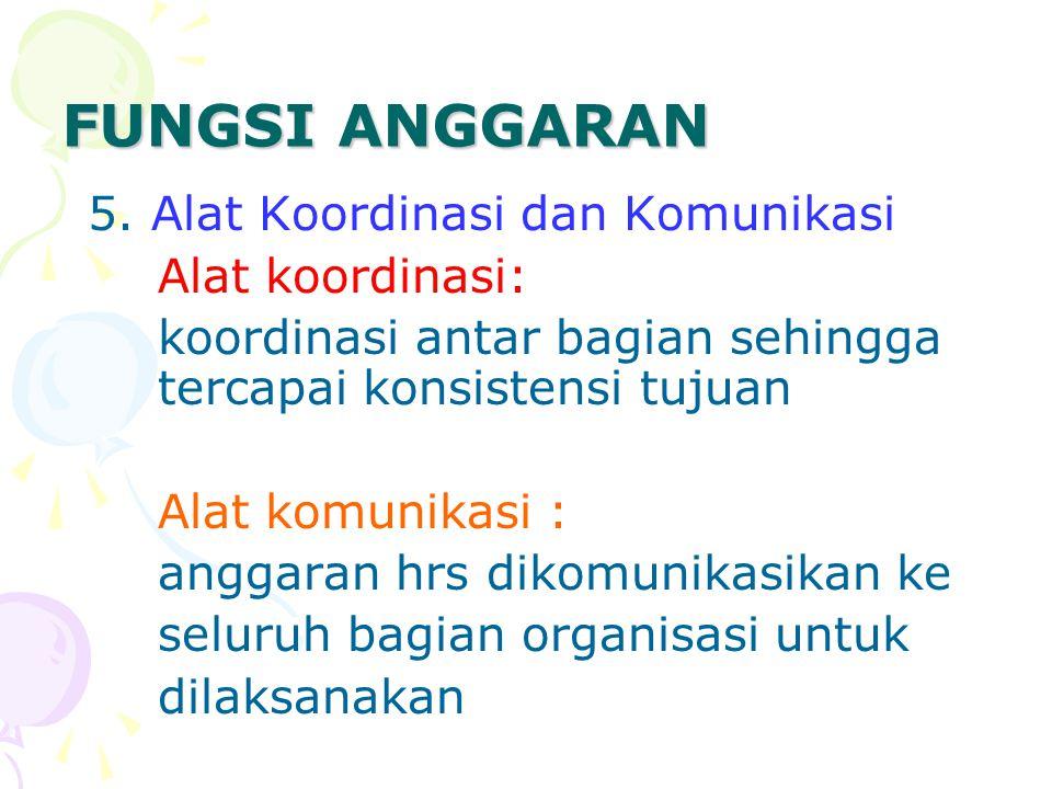 FUNGSI ANGGARAN 5. Alat Koordinasi dan Komunikasi Alat koordinasi: