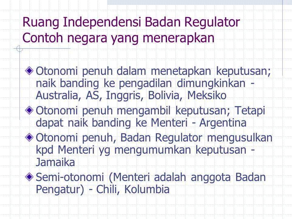 Ruang Independensi Badan Regulator Contoh negara yang menerapkan