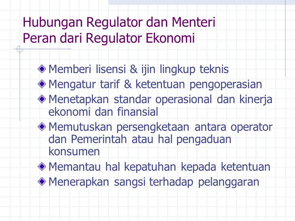 Hubungan Regulator dan Menteri Peran dari Regulator Ekonomi
