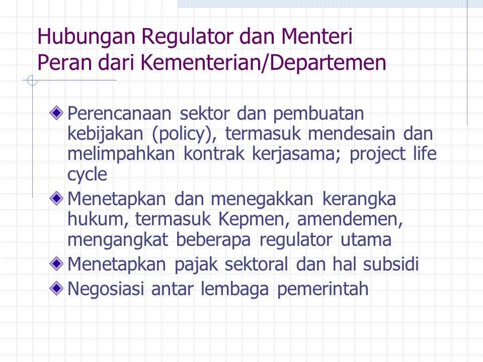Hubungan Regulator dan Menteri Peran dari Kementerian/Departemen