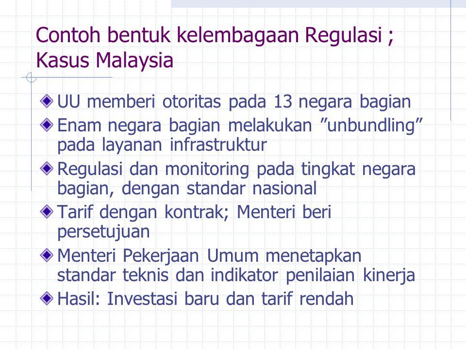 Contoh bentuk kelembagaan Regulasi ; Kasus Malaysia