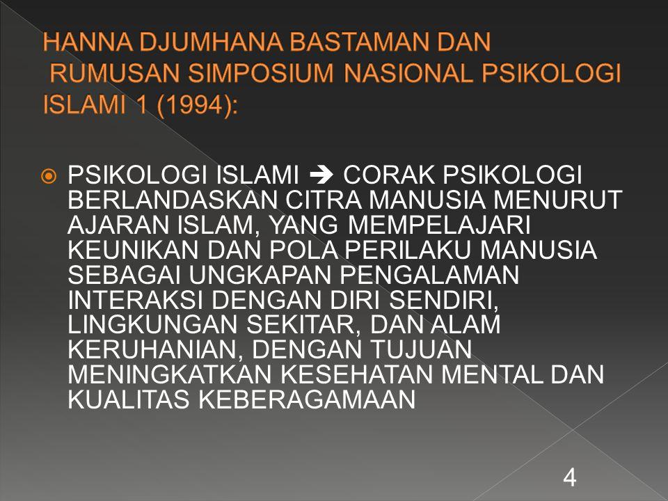 HANNA DJUMHANA BASTAMAN DAN RUMUSAN SIMPOSIUM NASIONAL PSIKOLOGI ISLAMI 1 (1994):