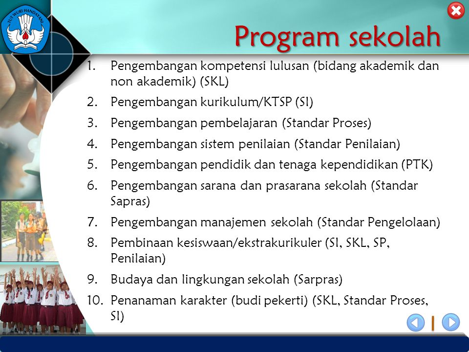 Program sekolah Pengembangan kompetensi lulusan (bidang akademik dan non akademik) (SKL) Pengembangan kurikulum/KTSP (SI)