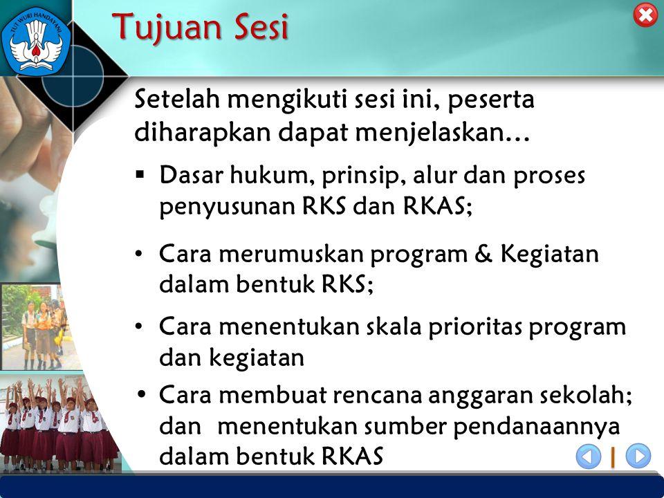 Tujuan Sesi Setelah mengikuti sesi ini, peserta diharapkan dapat menjelaskan… Dasar hukum, prinsip, alur dan proses penyusunan RKS dan RKAS;