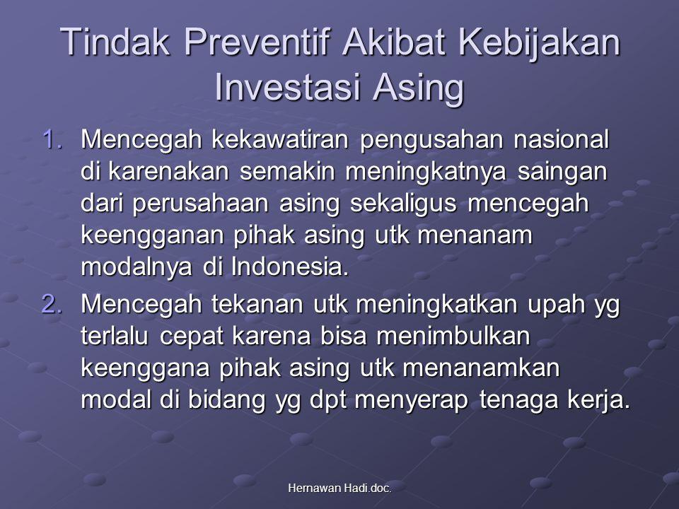 Tindak Preventif Akibat Kebijakan Investasi Asing