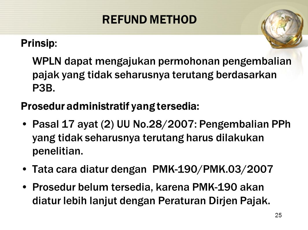 REFUND METHOD Prinsip: